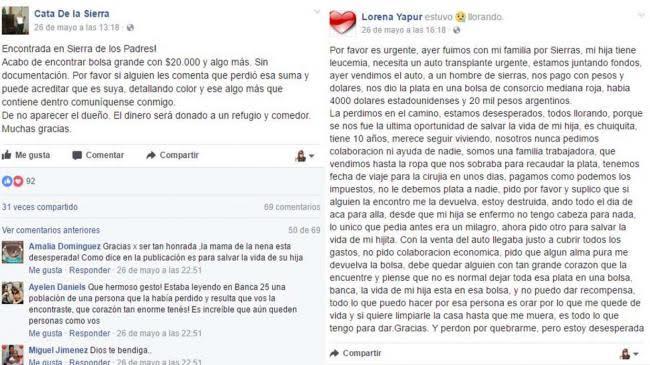"""Captura de pantalla de los dos mensajes, el de Cata y el de """"Lorena""""."""