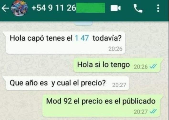 Viral | Insólita discusión en Whatsapp por la venta de un Fiat 147