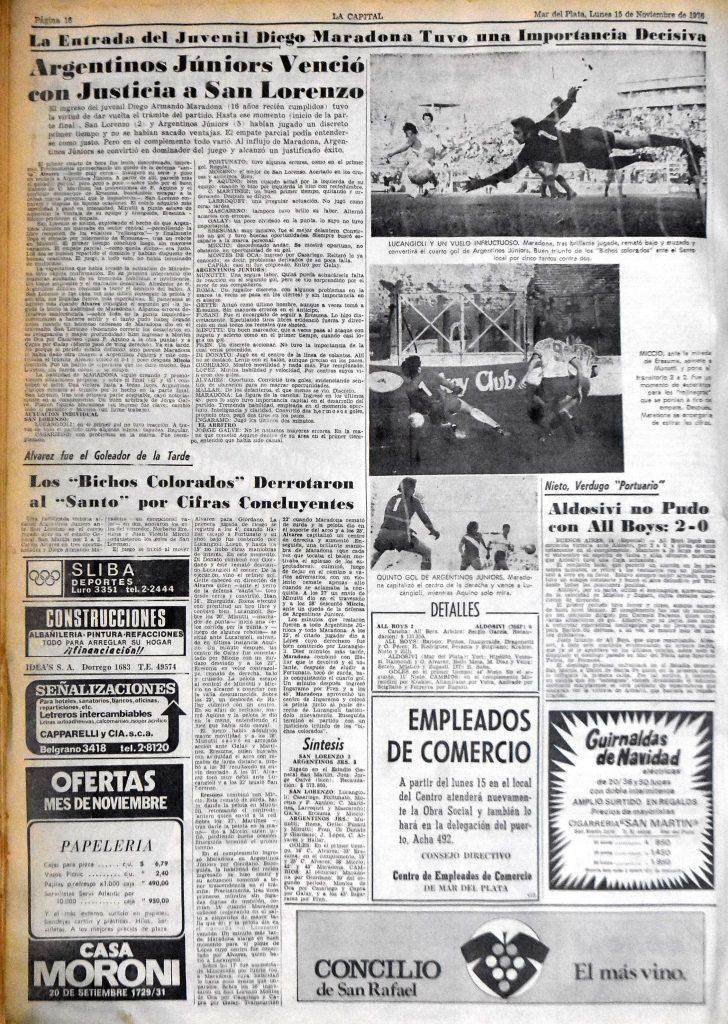Página 16 de la edición del 15/11/1976 del diario La Capital.