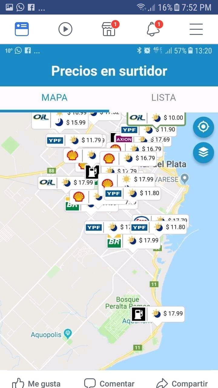 La aplicación oficial del precio del combustible: hay estaciones que declaran un precio y cobran otro.