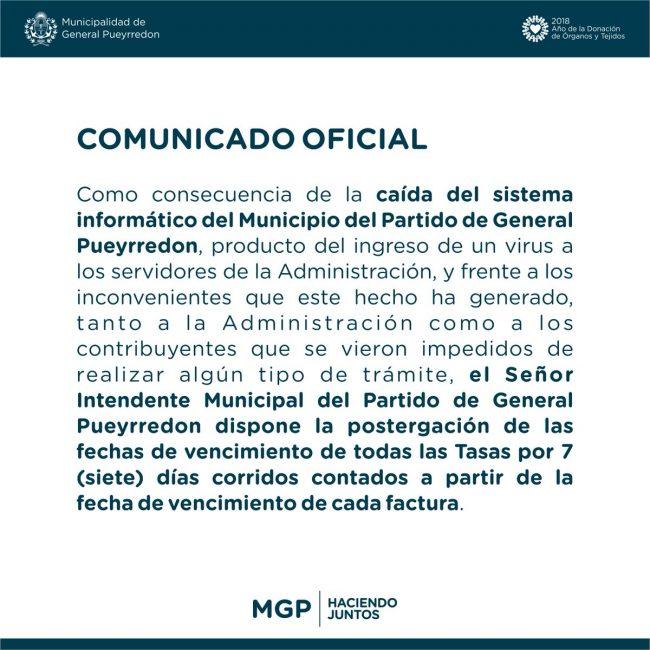 El texto del comunicado que el municipio difundió la semana pasada.