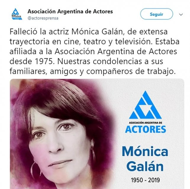 Murió la reconocida actriz argentina Mónica Galán