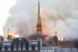 zzzzinte1Smoke and flames rise during a fire at the landmark Notre-Dame Cathedral in central Paris on April 15, 2019, potentially involving renovation works being carried out at the site, the fire service said. (Photo by FRANCOIS GUILLOT / AFP)zzzz