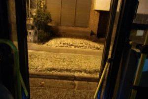 La postal de la nieve desde un colectivo.