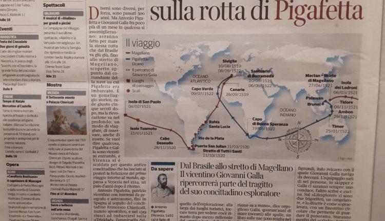Un diario de Vicenza destaca ampliamente la travesia con la que se está evocando la vuelta al mundo de Magallanes y Elcano.