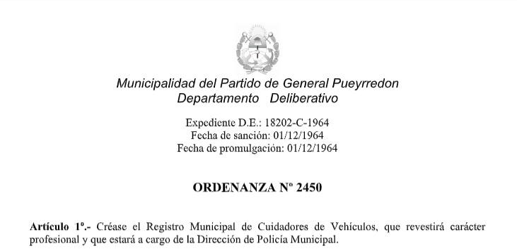 La ordenanza de 1964 que el oficialismo busca actualizar.
