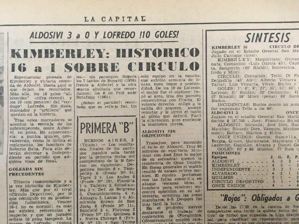 Artículo del diario LA CAPITAL sobre la histórica goleada de Kimberley ante Círculo Deportivo.
