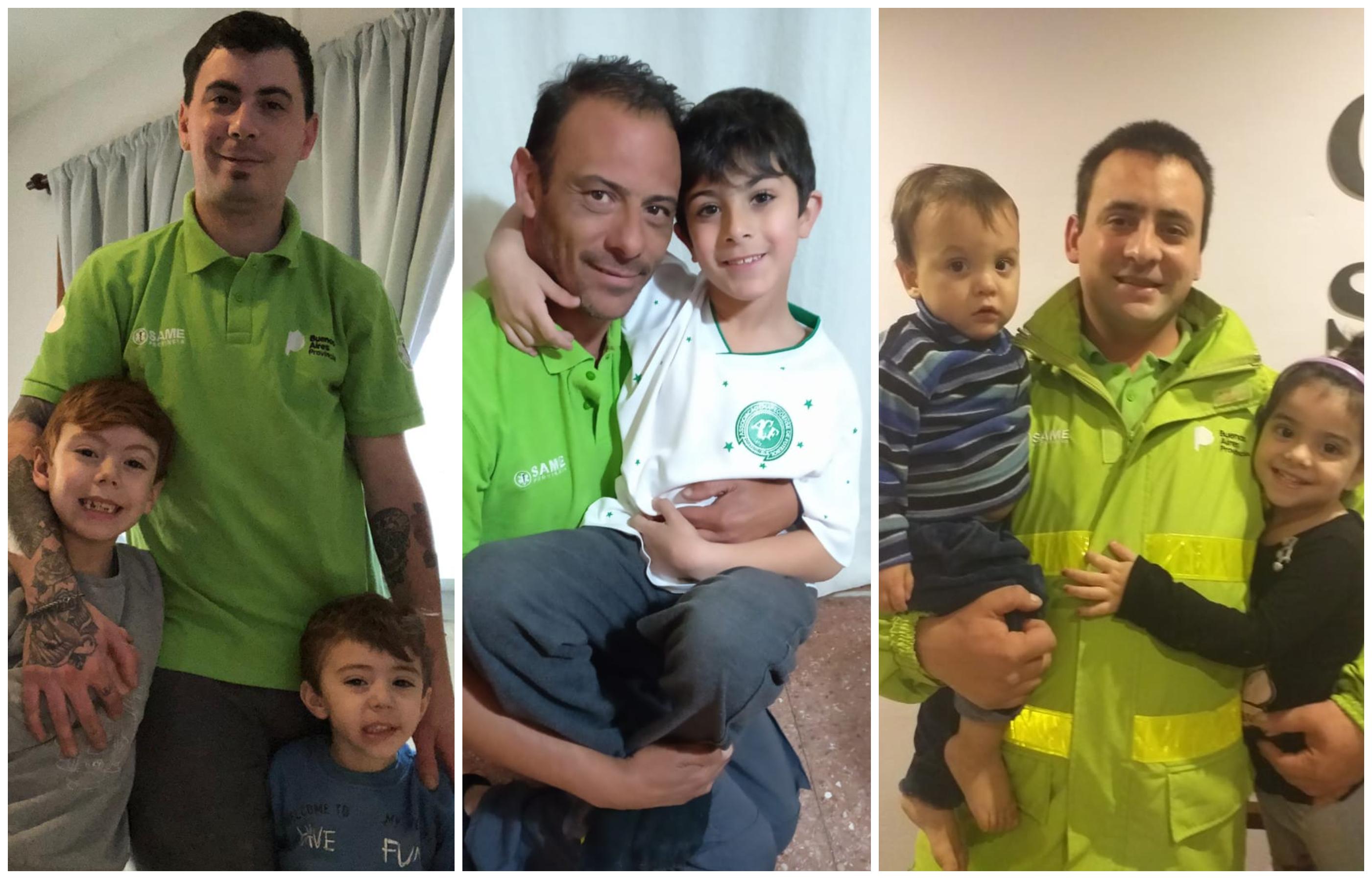Maxi, Diego y Martín -tres choferes de las ambulancias del SAME que recorren la cuidad atrás de la emergencia- posaron para la foto cada uno acompañado por sus hijos, con el honor de portar el uniforme.