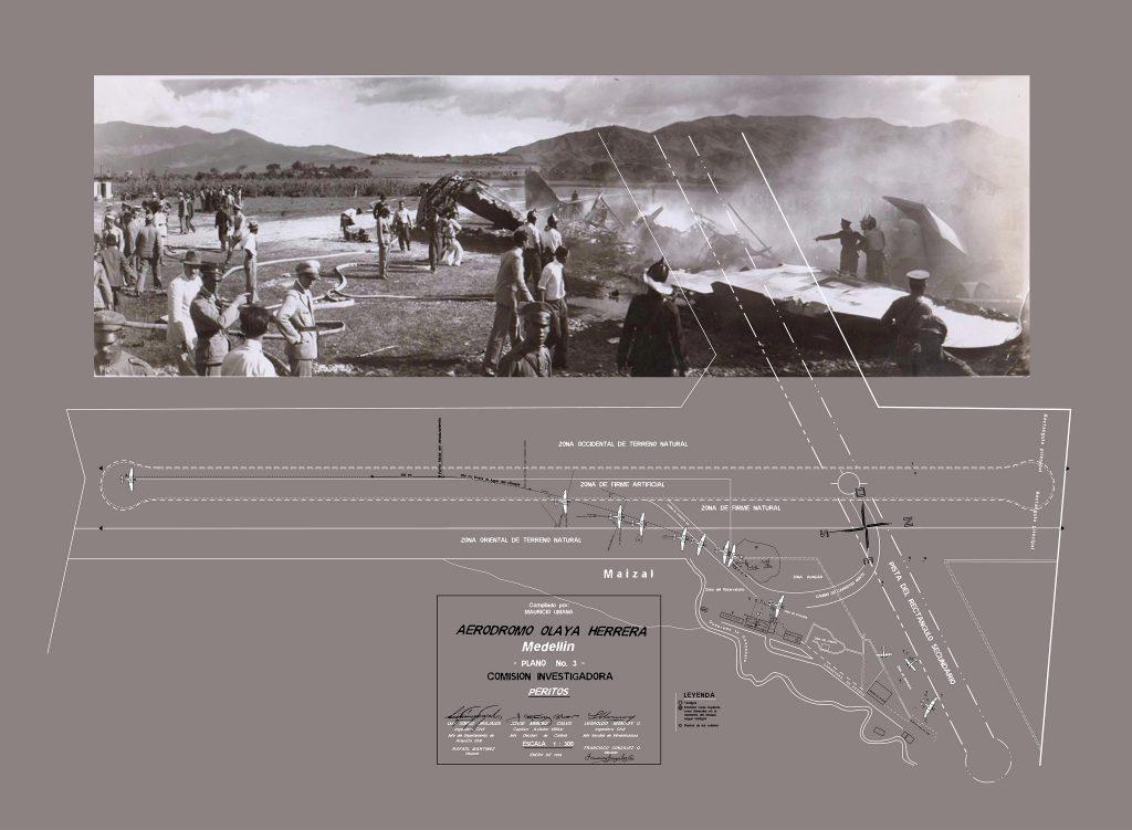 Plano #3 Cuadernos de la Comisión Investigadora, Peritos. Accidente Olaya Herrera, 24 Junio de 1935. Digitalizado y reconstruido por Mauricio Umana.