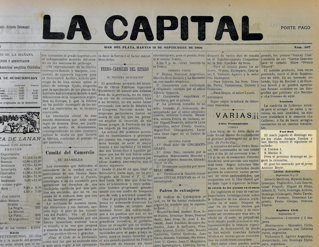 LA CAPITAL del 18 de septiembre de 1906 con el detalle del partido entre Amigos Unidos y San Martín.