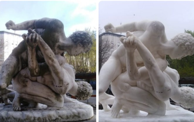 """""""Los luchadores"""", antes y después."""