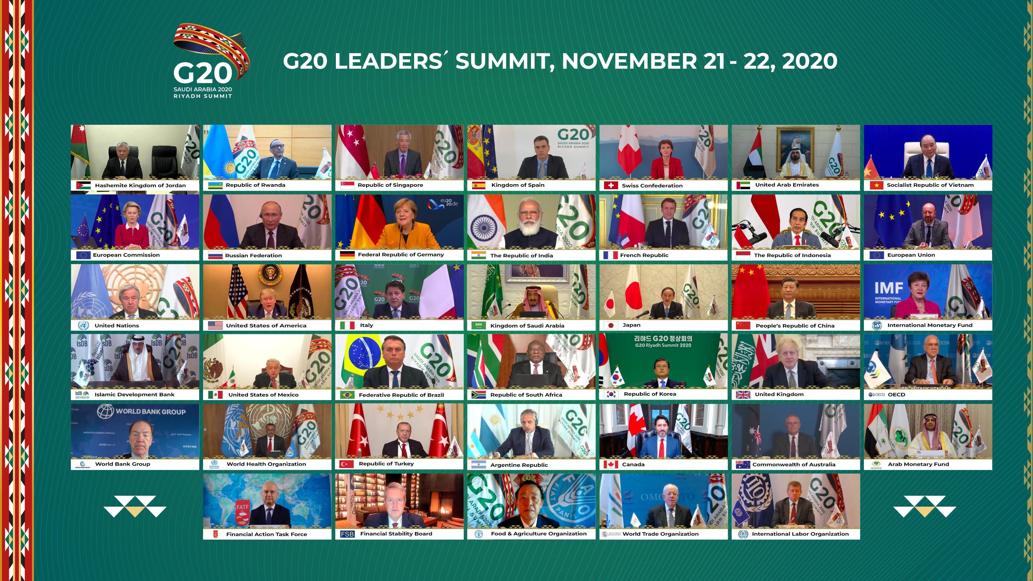 Reunión del G 20 de manera virtual. Foto: G 20.org
