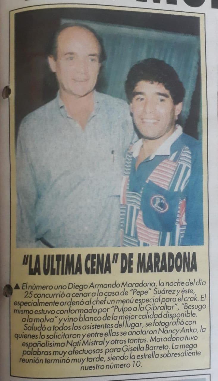 Pepe Suárez junto a Diego Maradona en su restaurante.