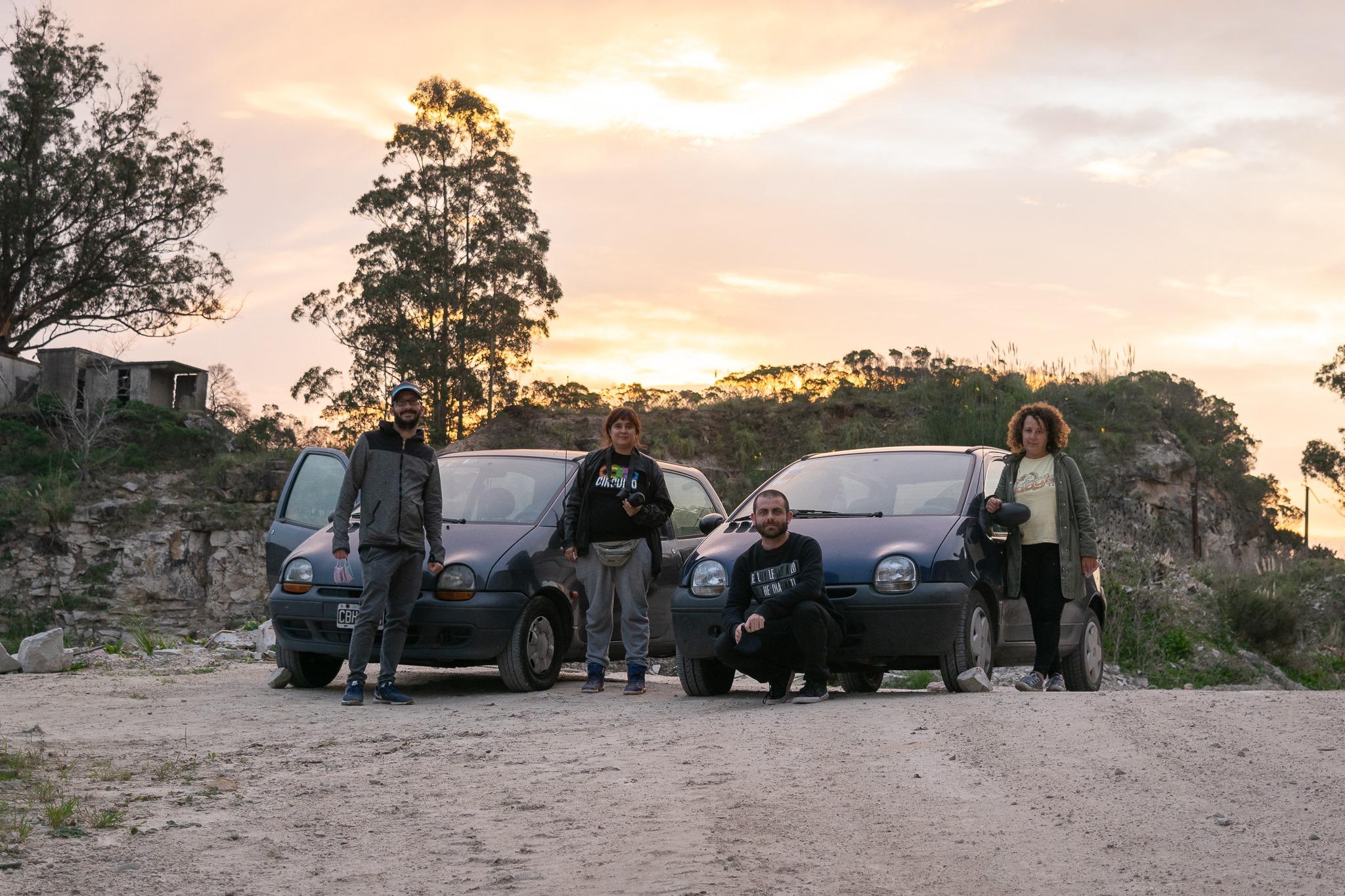 El equipo de trabajo: Mauro Carusso, Santiago Mancino, Angeles Quinteros y Paula Elgarrista en las canteras.