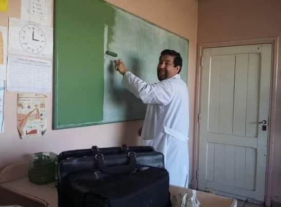 José Vaccaro en una de sus clases.