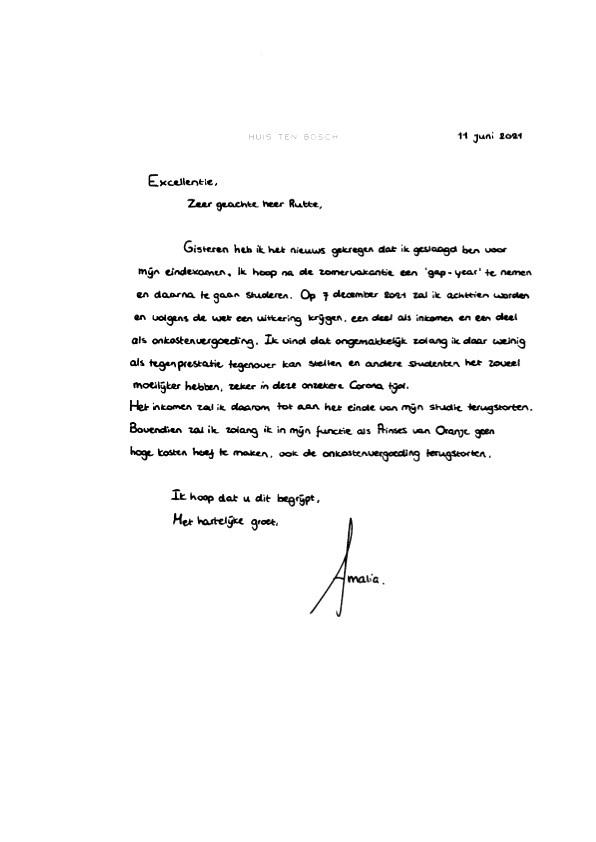 Amalia de Países Bajos renuncia a su asignación hasta terminar sus estudios